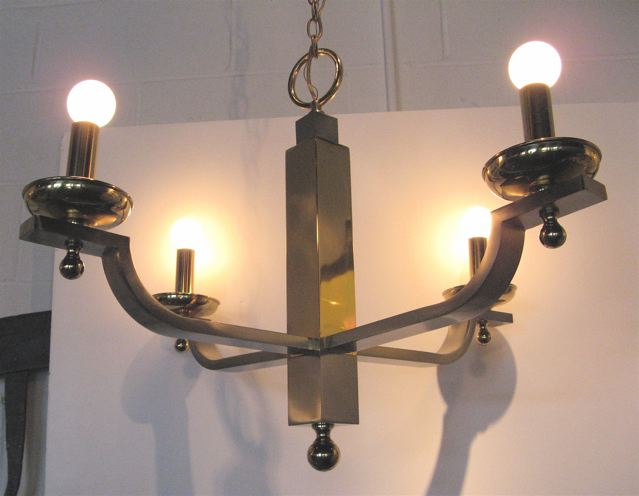 Bronze and Chrome Four Arm Chandelier