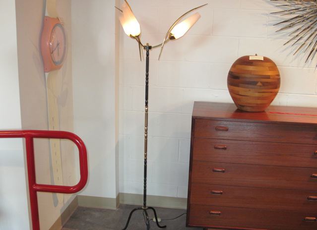 French Three Arm Metal and Glass Floor Lamp