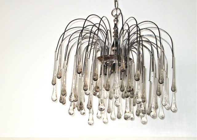 Metro Modern Murano Tear Drop Crystal Chandelier - Chandelier drop crystals