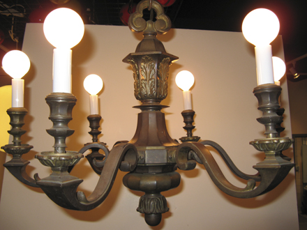 Solid Bronze Six Arm Chandelier