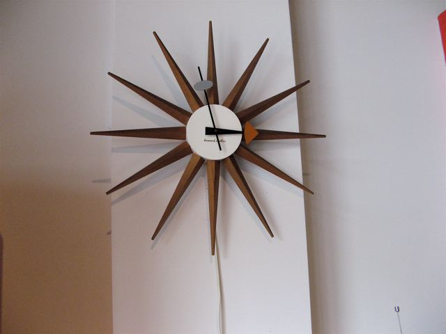 Metro modern george nelson sunburst wall clock for Nelson wall clock