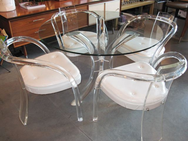 Metro Modern Lucite Amp Glass Table Amp Four Lucite Chairs