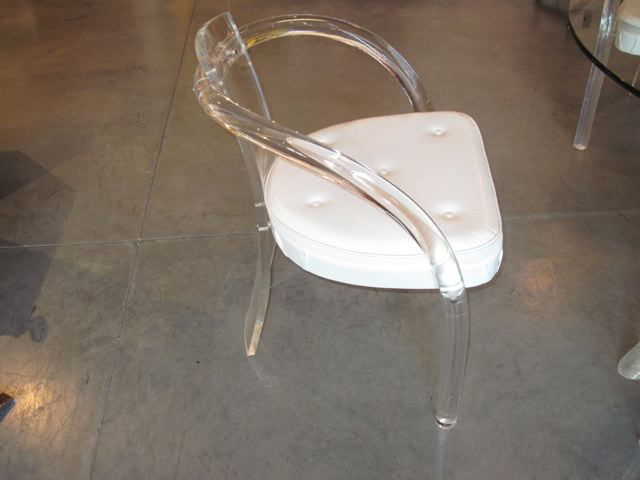 lucite u0026 glass table u0026 four lucite chairs