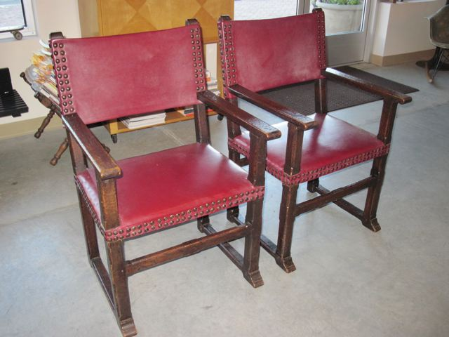 French Oak & Leather Armchairs