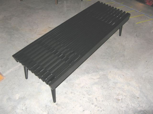 Black Wood Slat Table