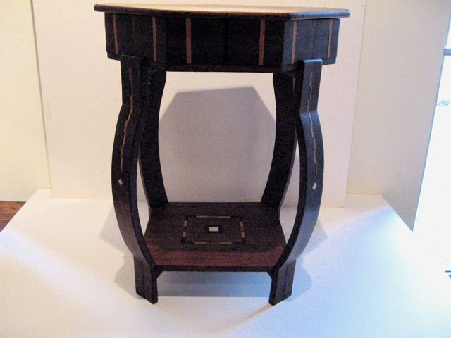 Wood and Bone Inlay Occasional Table