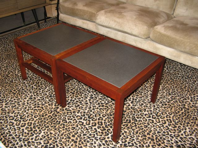Two Brown Saltman Coffee Tables