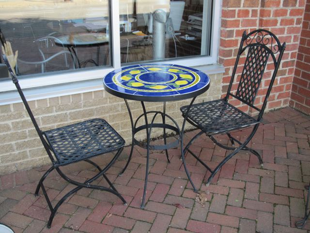 Metro Modern Patio Tile Table Chairs