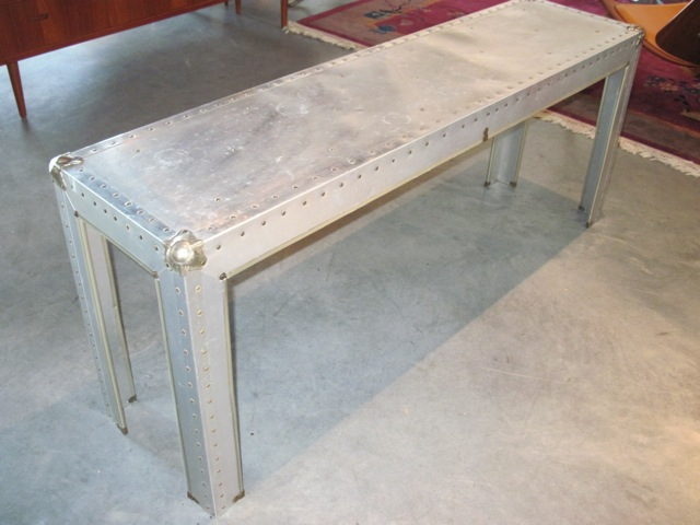Metro modern industrial artisan metal console table Metal console table