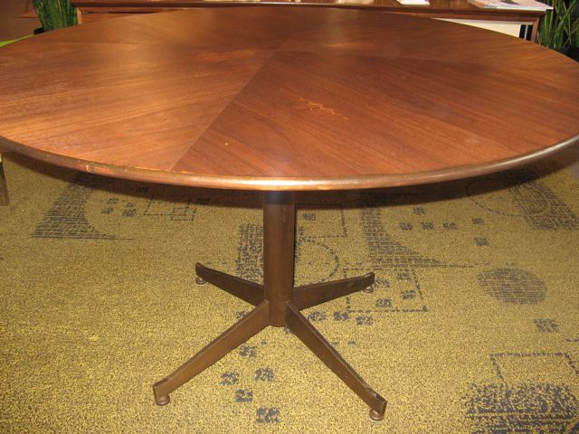 Walnut & Bronze Round Conference/Dining Table