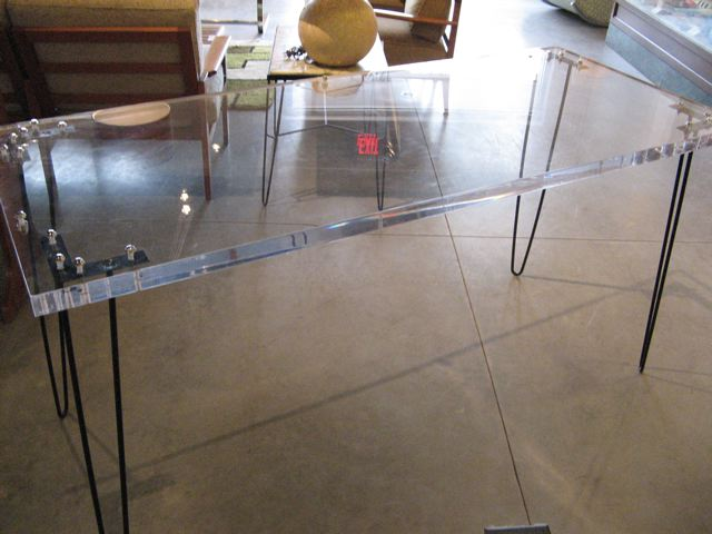Lucite And Iron Pin Leg Table